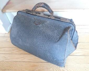Old Shabby Black Doctor's Bag Medical Bag
