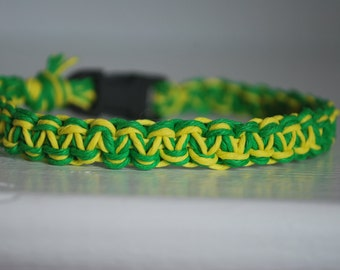 Bright Green and Yellow Hemp Cat Collar
