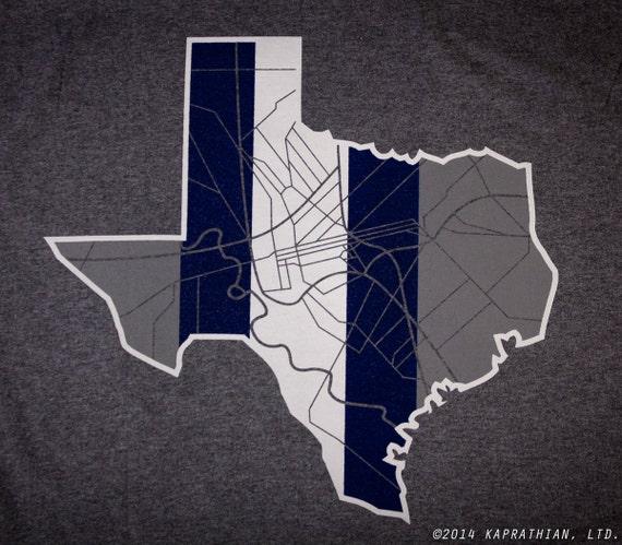 Dallas Texas map t-shirt Awesome vintage print!!