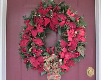 Handmade Christmas Red Poinsettia Wreath