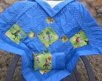 "Custom Made to Order ~ ""Neutral"" Boy or Girl Baby Quilt and Pillow Made with Toy Story Fabric and Super Soft Minkey Dot Fabric"
