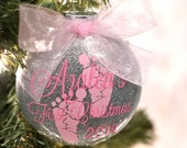 Pink and Silver Custom Baby's First Christmas Ornament | Glitter