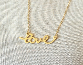 Lovely 'love' pendant necklace,14k gold filled, perfect for everyday wear