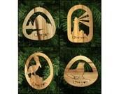 Oregon Coast Myrtlewood Christmas Ornament Set: Haystack Rock, Lighthouse, Pelican, Sea Lion