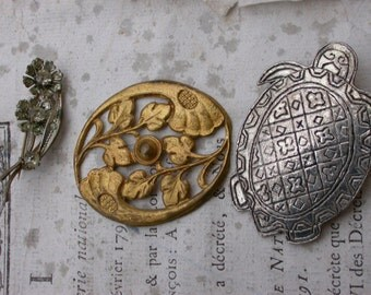 3pcs vintage jewelry french art deco  bronze silver plated brooch flower animal brooch pin gold floral crystal decoration