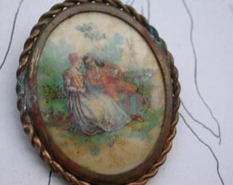 French antique 1920s  art nouveau bronze gold vermeil brooch painting  holder photo miniature romantic couple ornate bronze frame ooch