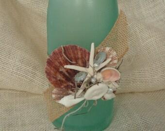 coastal decor, beach decor, decorative bottle, shell bottle, shell decor, seashell bottle, beach decor, coastal cottage