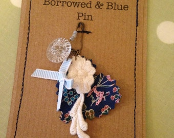 Personalised old new borrowed blue pin, made to order