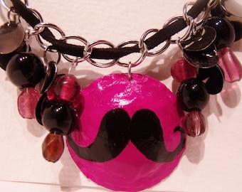 Mustache Bottlecap Necklace