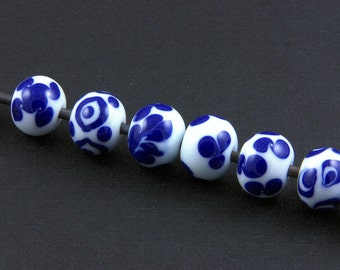 Handmade Glass Lampwork Beads Set in Blue and White