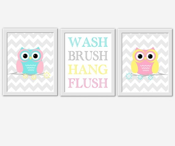 Kids Bath Wall Art Owls Wash Brush Hang By