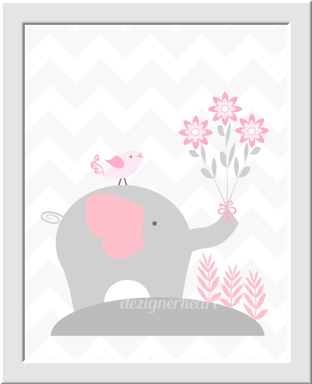 Pink And Gray Girls Baby Room: Baby Girl Nursery Wall Art Pink Gray Elephant Elephants Baby