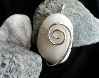 Wire Wrapped Beach Stone Pendant