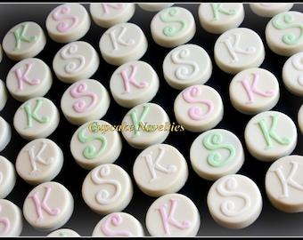 Monogram Cookies Initial Edible Wedding Favors Chocolate Oreos Pops Bride & Groom Gift Dessert Table Rehearsal Bridal Shower Dessert Ideas