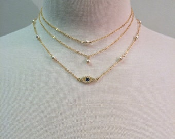 Dainty Layered - gold filled necklace with cross & Mary