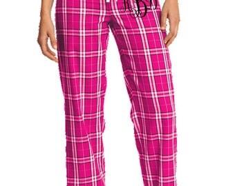 Flannel Plaid Lounge Pants / Pajama Bottom with Monogram Embroidery