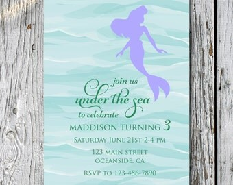 Mermaid Birthday Invitation- Digital File