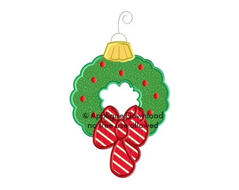 Christmas Wreath Bauble Applique - Instant EMAIL With Download - 3 Sizes - for Embroidery Machines