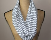 Music Infinity Scarf - Music Note Scarve - Black And White - Circle Scarf - Cowl