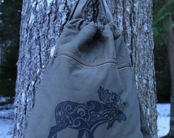 Moose Tribal Tattoo Pigment Dyed Cinch Bag Backpack -  Screen Printed Original Design