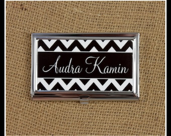 Business Card Case Custom Metal Monogram Business Card Holder Personalized Monogrammed Gifts Office Friend Co-Worker Desk Accessories