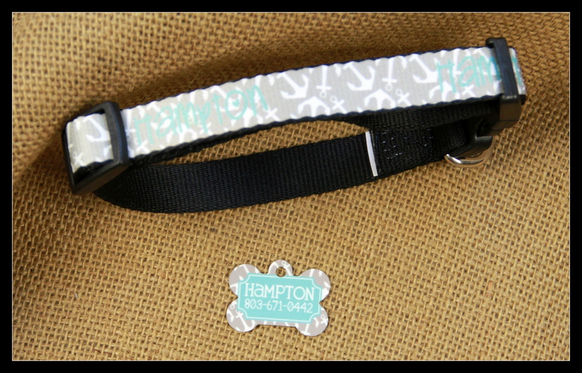 Personalized Dog Collar Dog Tag Pet ID Tag Combination Set