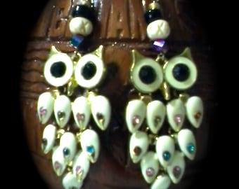 Striking Pair of Owl Earrings