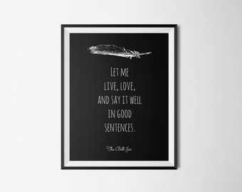 The Bell Jar Literary Print - Book Quote Digital Print - Instant Download