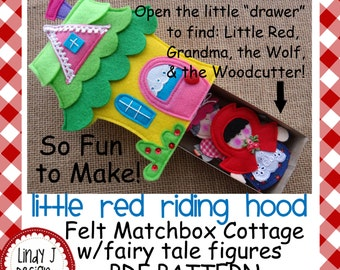 FAIRY TALE MATCHBOX Cottage #1 Little Red Riding Hood Felt Playset pdf Pattern