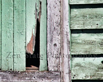 Barn Photography Fine Art Print. Rustic Wall Art. Vintage Inspired Kitchen Art. Farm House Wall Decor. Mint Green Shabby Chick Photograph.
