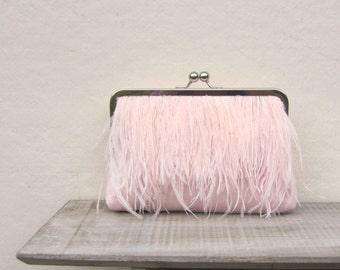 Ostrich feather clutch, pale pink bridal clutch, blush wedding purse, great gatsby, pink wedding, blush bridesmaid clutch, 1920s wedding