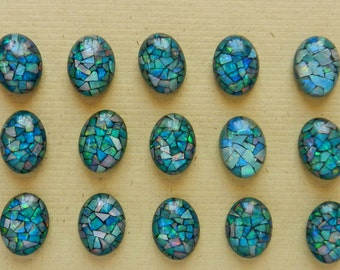 Brilliant, Multicolor, Vintage 1970s, 16X12MM Opal Mosaic Triplet Cabochons In Shades Of Pink, Orange, Red, Blue, Green, Purple And Magenta
