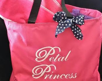 FLOWER GIRL Gift Bag, Petal Princess, Princess of Petals, one side of bag, Bow on bag is extra,  Girls personalized bag