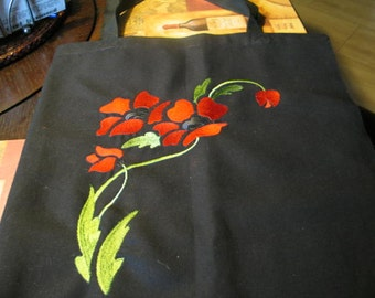 Black Poppy Motif Canvas Tote Bag