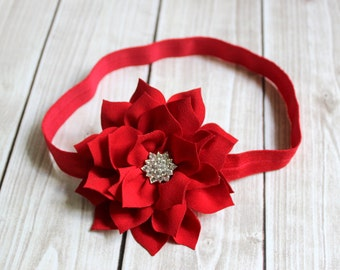 Red Flower Headband, Baby Headband, Newborn Headband, Valentines Headband, Red Headband, Christmas Headband, Christmas Hair Bow