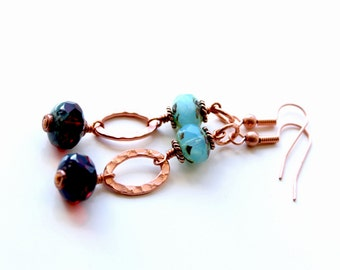 Copper handmade earrings with Czech glass beads. Long copper dangle earrings. Red, blue and copper Rustic earrings. Mother's day gift guide.