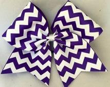 Practice Cheer Bow - Purple and White Chevron