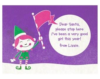 Personalised Santa please stop here frame (female Elf option)