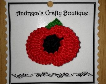 Red Poppy Flower Crochet Cotton Brooch, Reusable Poppy Crochet Brooch