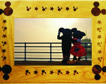 Laser Engraved Mickey Mouse 4X6 Alder Wood  Picture Frame