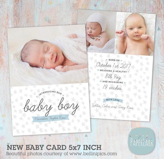 Birth Announcement Template Photoshop Boy Newborn Baby – Photoshop