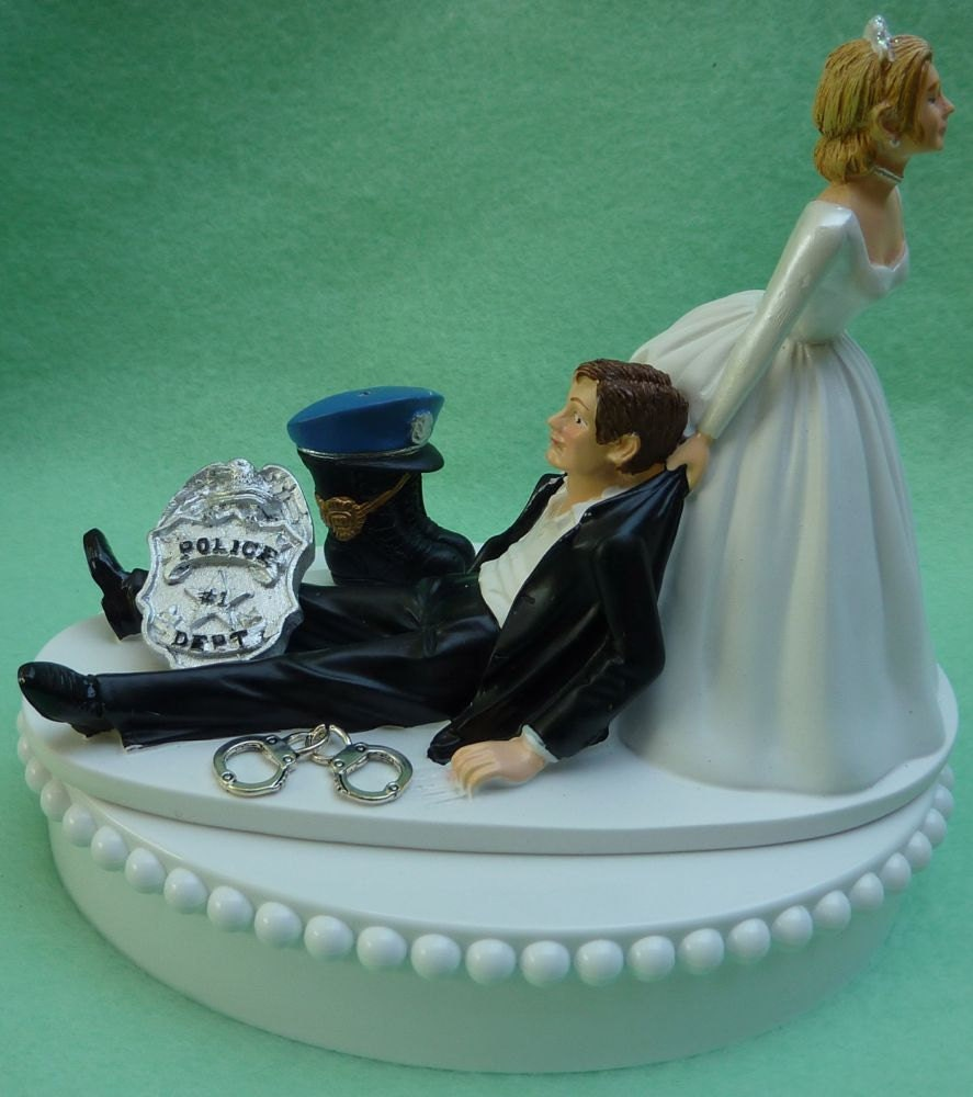 police officer wedding cake topper wedding cake topper policeman boot cap hat badge handcuffs 18672