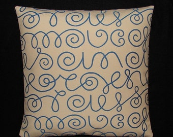 "Names by Alexander Girard, 1957 - Maharam - Mid-century Modern design accent pillow 17"" x 17"" feather/down insert included"