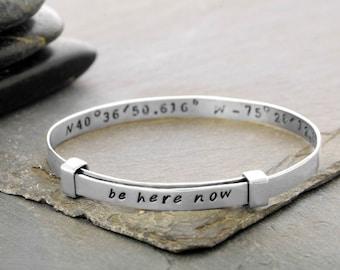 Latitude Longitude, Coordinates Bracelet, Coordinate Bracelet, Personalized, Custom Coordinates, GPS Coordinates, Longitude Bracelet, B252SS