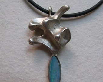 Organic Sterling Silver One of a Kind Pendant with Opal
