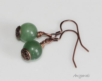 Copper earrings with jade