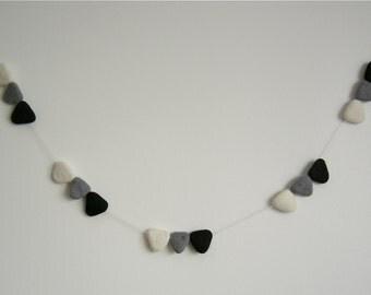 Bunting Natural Wool Felt- Natural Gray Black- Style Modern Minimalist- Wall Banner- Ornament- 6 feet- Handmade-