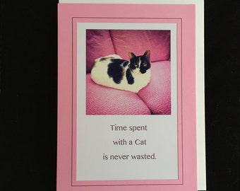 Cat Lover Greeting Card and Gift | Framable Art | 5 x 7 Cat Wall Art | Calico Cat on Pink