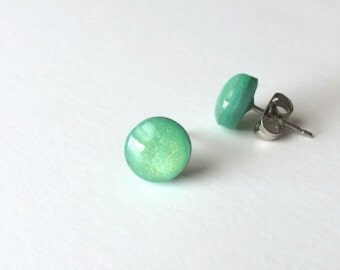 Jade Earring Studs - Polymer Clay and Resin Studs - 12mm