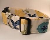 Navy and Yellow Hummingbird Adjustable Dog Collar